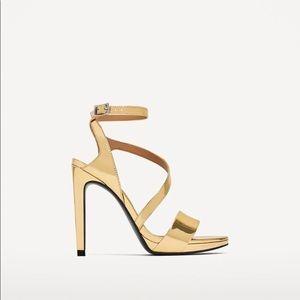 Zara gold high-heel